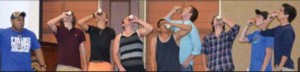 The events: Competitors chug rootbeer and try to burp the loudest in the Manlympics tournament. (Right) Sig Tau Steven Haber introduces Trent Files a