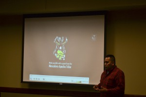 "On the Black and Gold Screen: Filmmaker Pascal Enjady explains the context of the documentary he showed on Oct. 14 in CETES. The documentary, called ""Two Year Promise,"" documented the hardships of the Chiricahua Apache Prisoners of War."