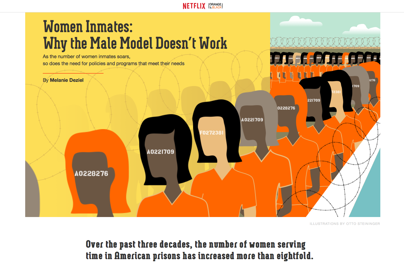 "What are you reading?: This screenshot of a New York Times article for ""Orange is the New Black"" is one example of native advertising. The headline makes the story appear to be about women's prisons, but the content of the story advertises the Netflix original series - a practice that crosses a number of ethical boundaries."